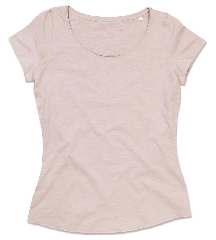 t-shirt oversize da donna in cotone rosa polvere maniche corte