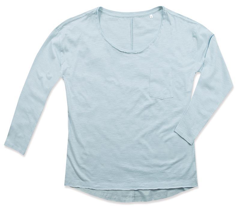 t-shirt oversize da donna in cotone blu polvere maniche lunghe