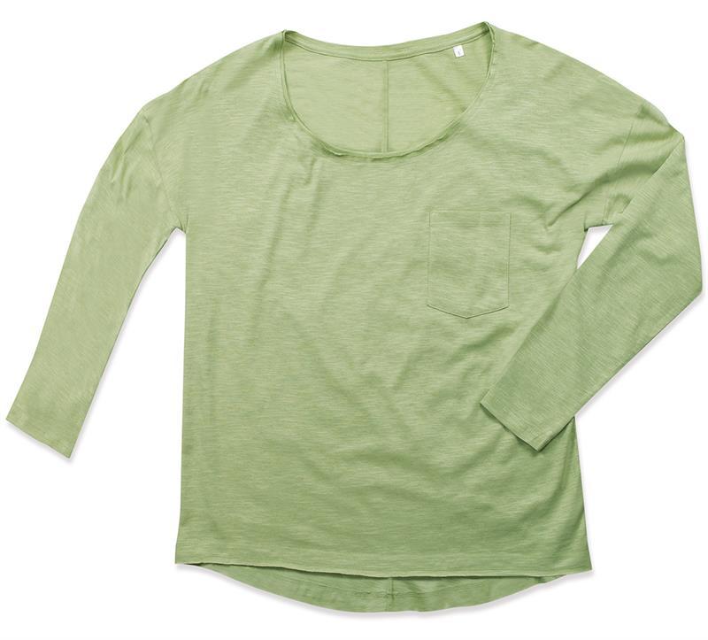 t-shirt oversize da donna in cotone verde polvere maniche lunghe