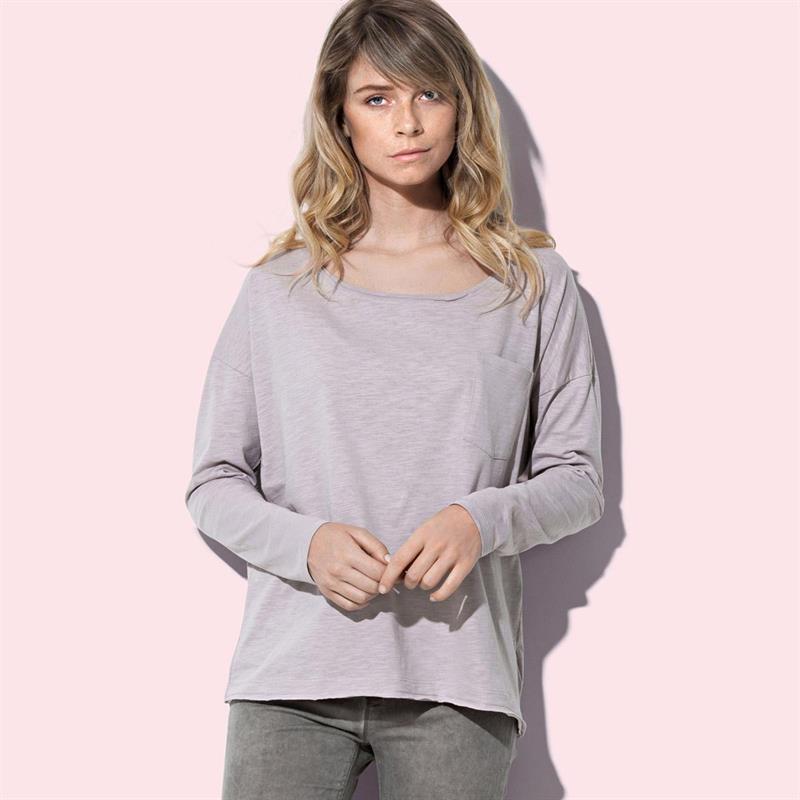 t-shirt oversize da donna in cotone rosa polvere maniche lunghe