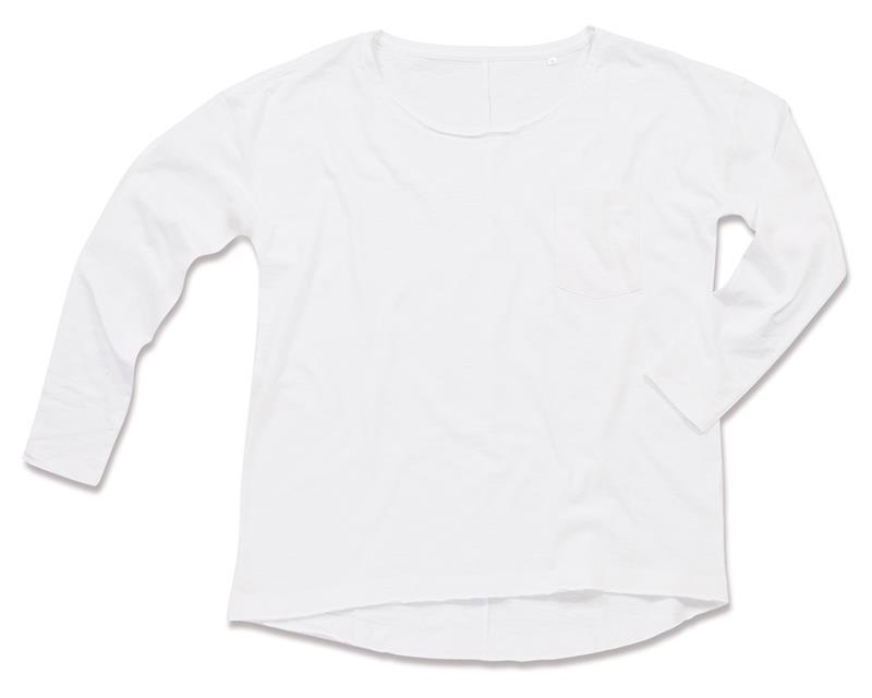 t-shirt oversize da donna in cotone bianco maniche lunghe