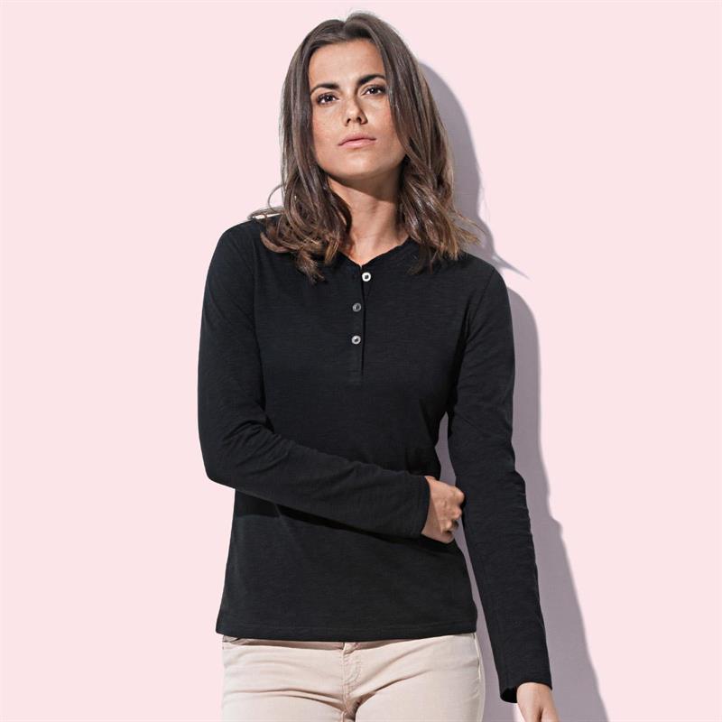 t-shirt da donna in cotone nero con bottoni maniche lunghe