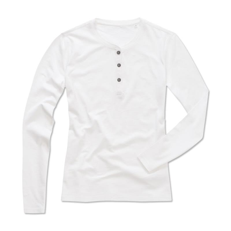 t-shirt da donna in cotone bianco con bottoni maniche lunghe