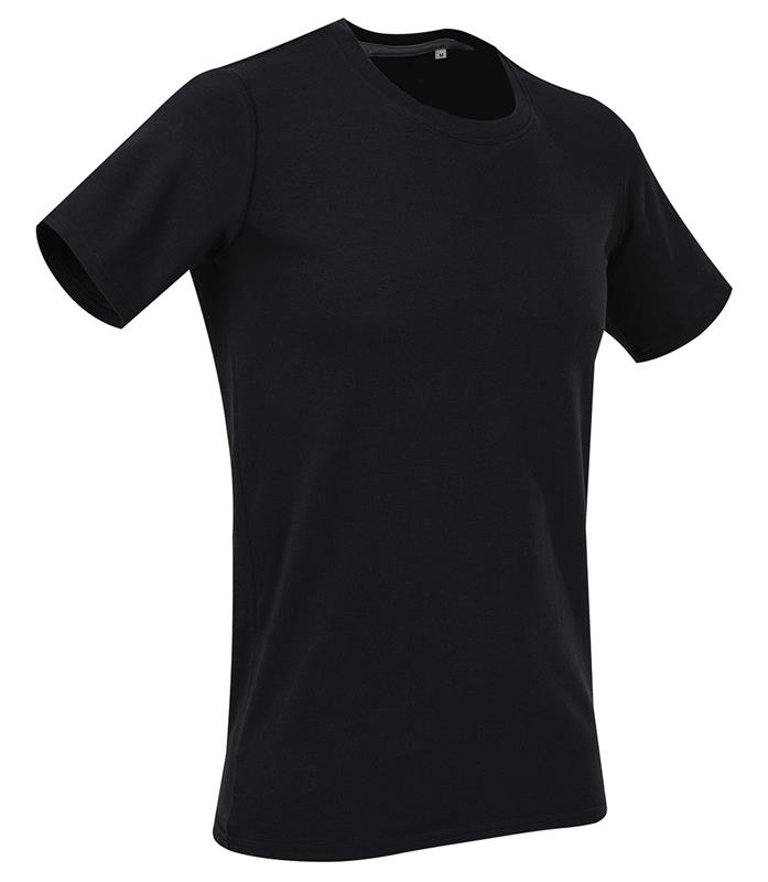 t-shirt da uomo con girocollo in cotton-elastan