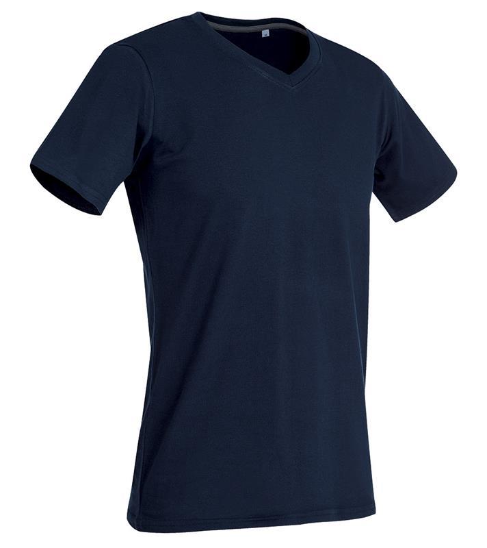 t-shirt da uomo con collo a v in cotton-elastan