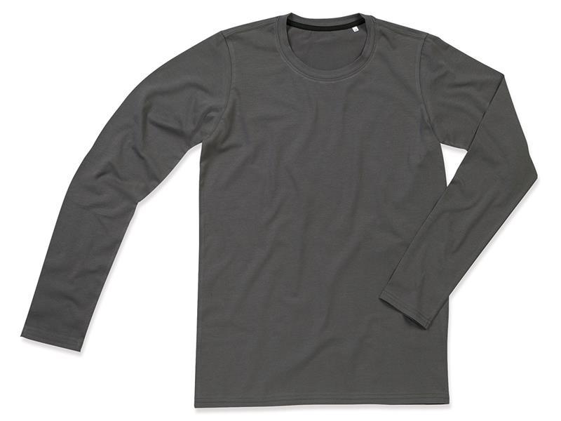 t-shirt da uomo con girocollo in cotton-elastan maniche lunghe