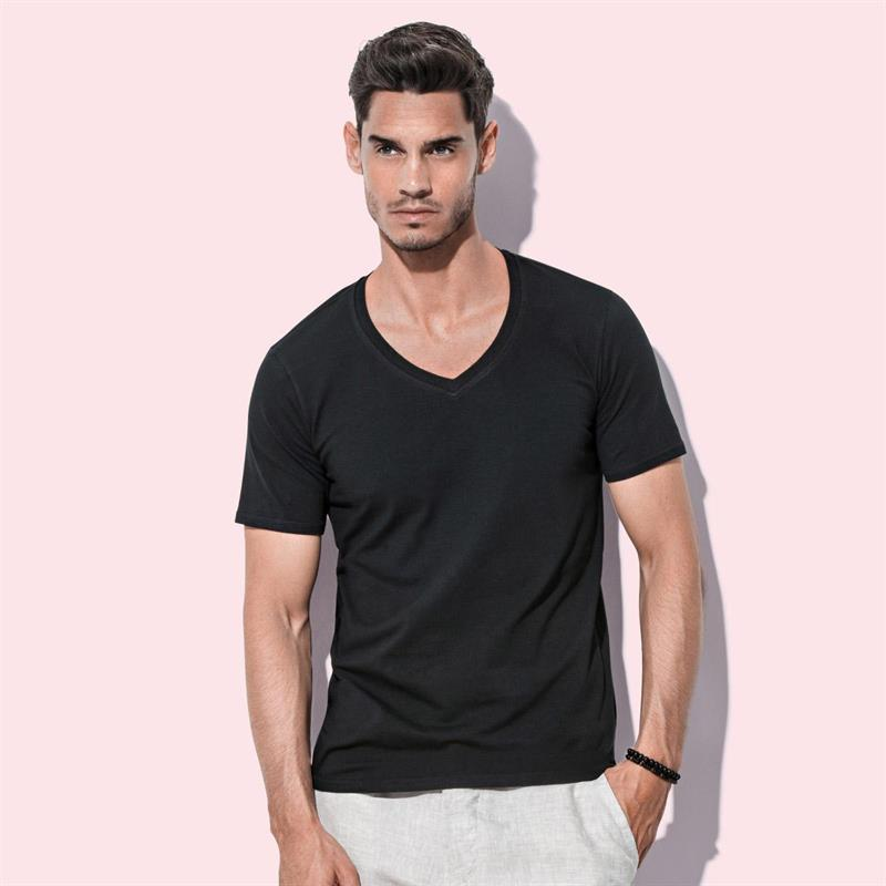 t-shirt da uomo con collo a v in cotton-elastan