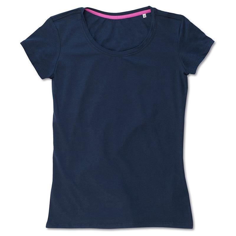 t-shirt da donna con girocollo in cotton-elastan