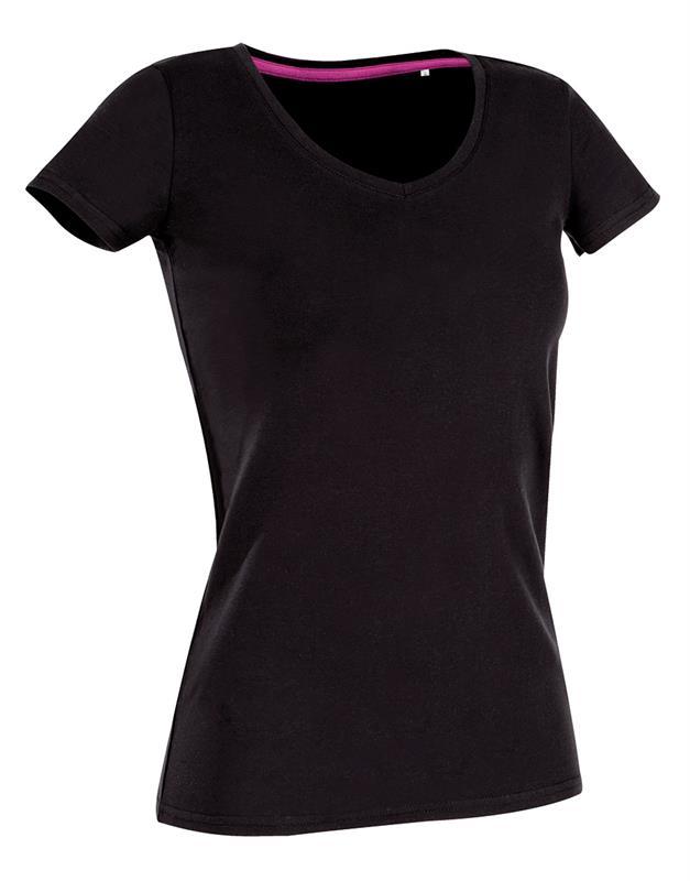 t-shirt da donna con collo a v in cotton-elastan