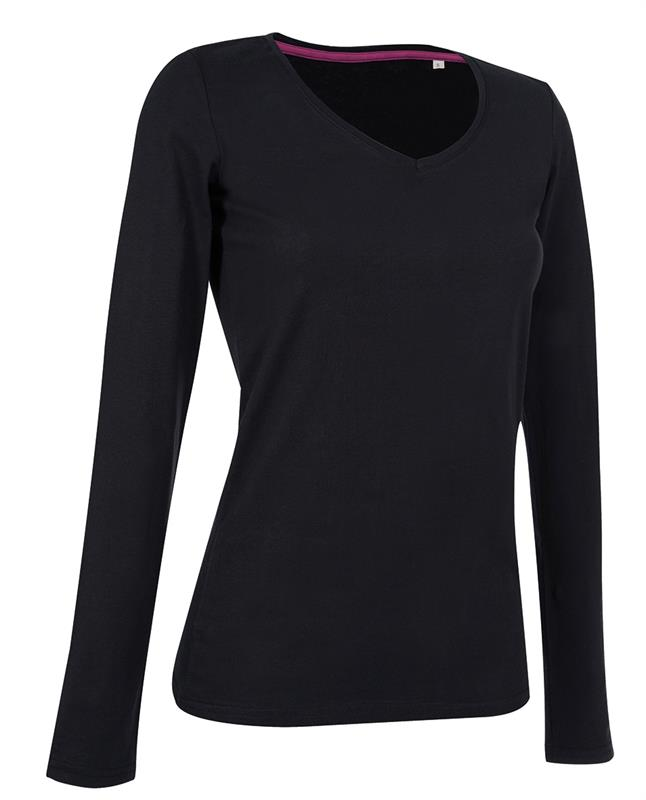 t-shirt da donna con collo a v in cotton-elastan maniche lunghe