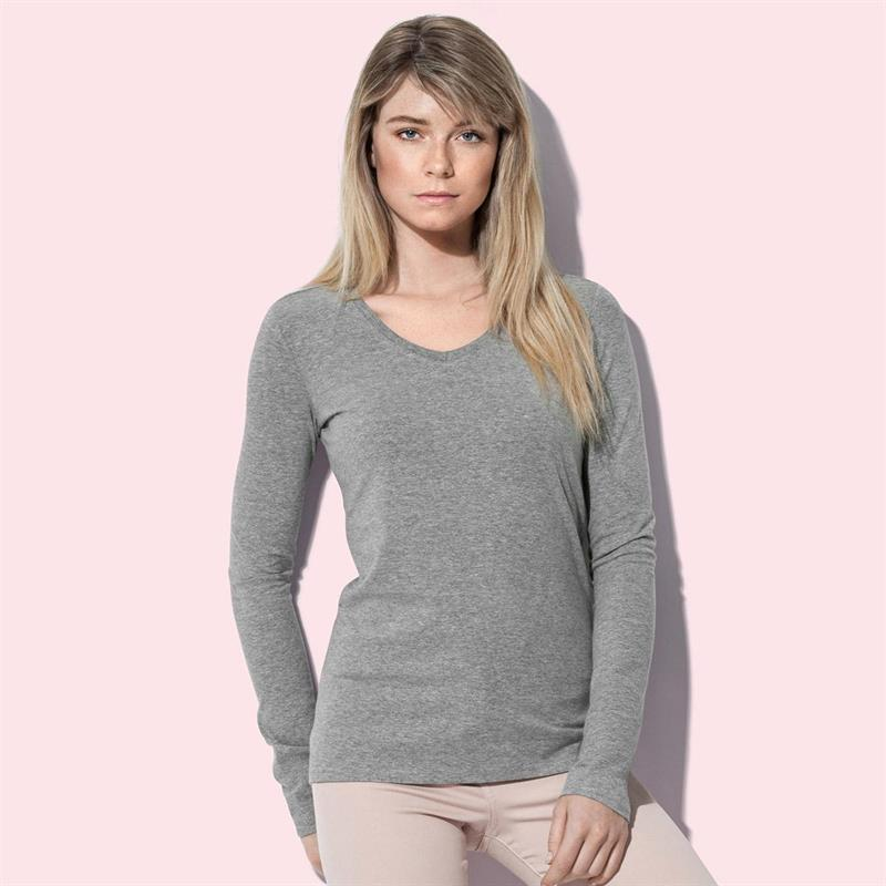 t-shirt da donna con collo a v in cotton-elastan maniche lunghe