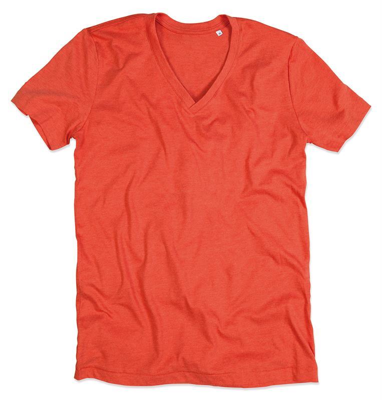 t-shirt da uomo con collo a v in melange di cotone