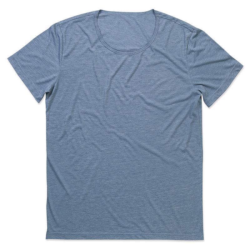 t-shirt oversize da uomo in tessuto melange blu con girocollo