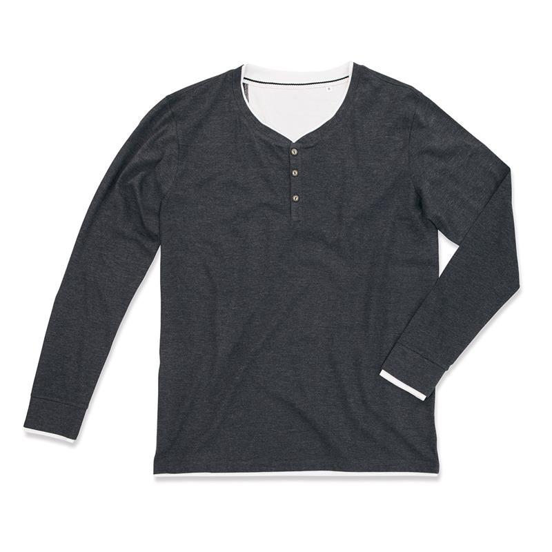 t-shirt da uomo a manica lunga con bottoni