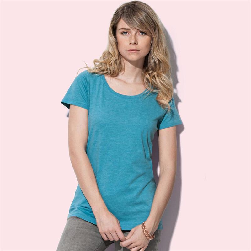 t-shirt da donna con girocollo in melange di cotone