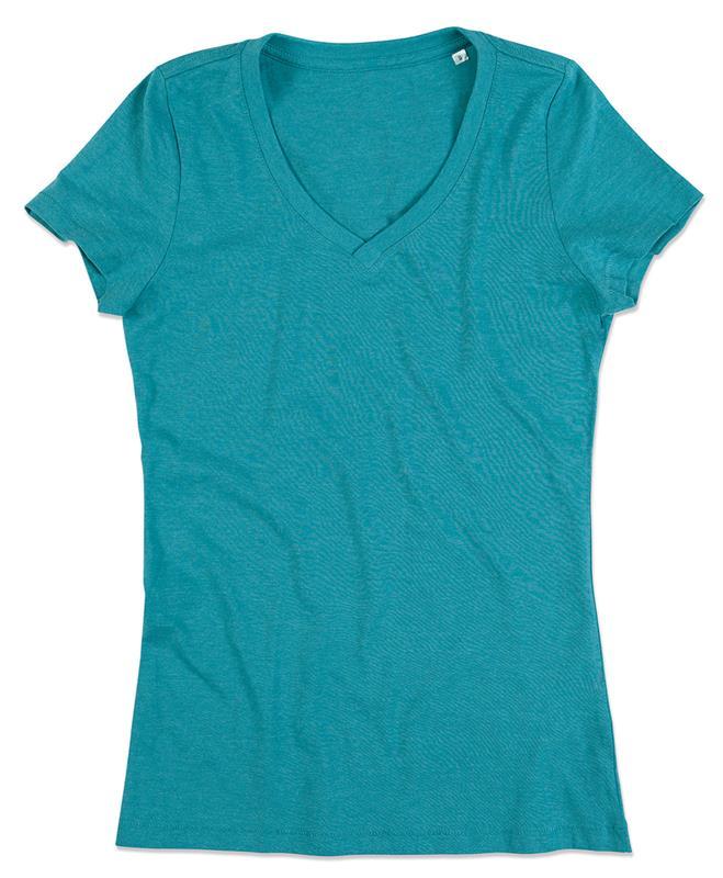 t-shirt da donna con collo a v in melange di cotone