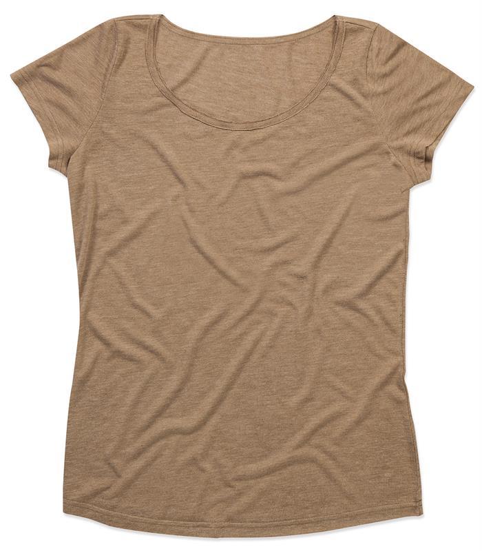 t-shirt oversize da donna in tessuto melange marrone con girocollo