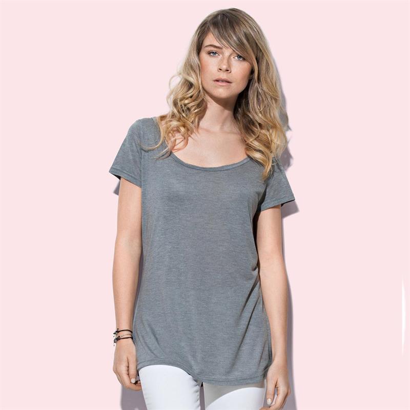 t-shirt oversize da donna in tessuto melange grigio con girocollo