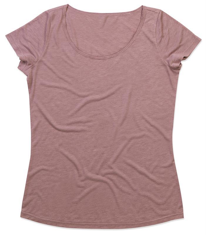 t-shirt oversize da donna in tessuto melange rosa con girocollo