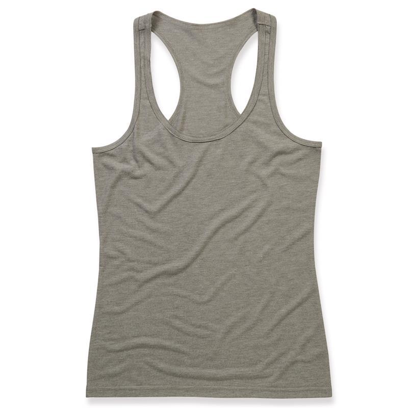 top da donna in tessuto melange grigio con spalla all'americana