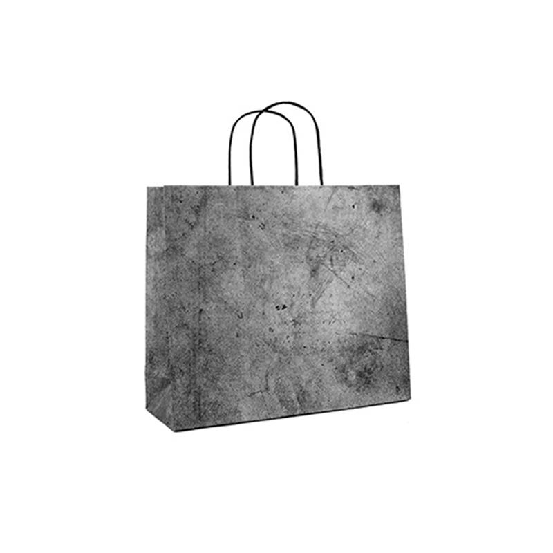 shopper in carta riciclata grigia risvolto superiore cordino ritorto
