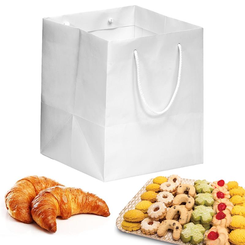 shopper in carta kraft bianco manico cotone