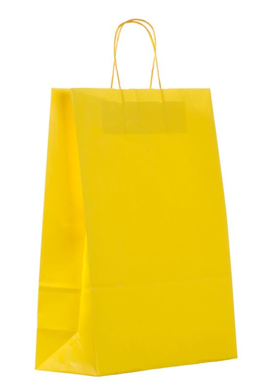 shopper in carta kraft giallo manico cordino
