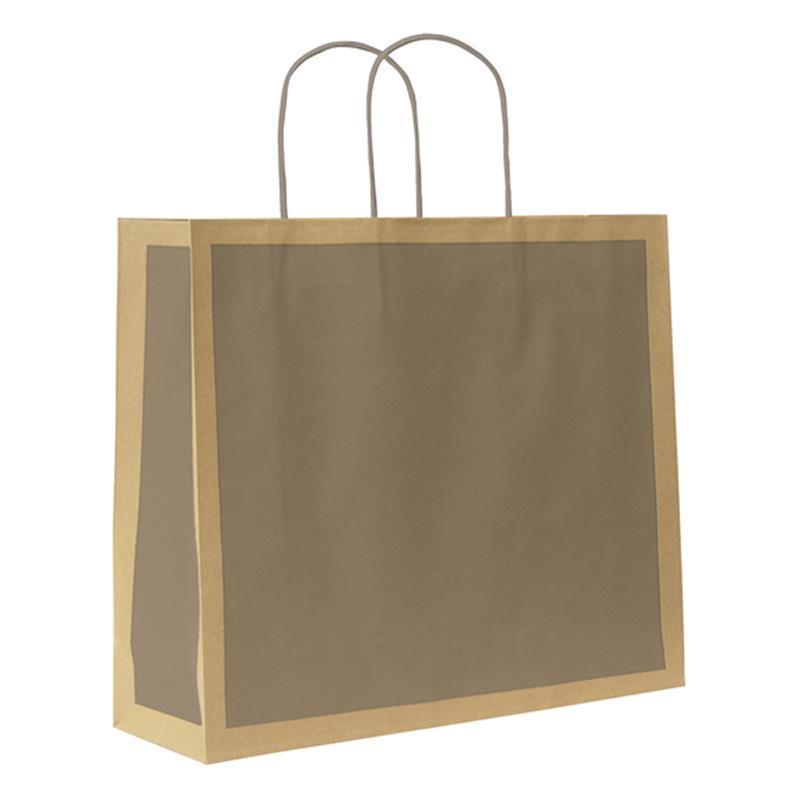 shopper in carta riciclata avana riquadro tortora manico cordino