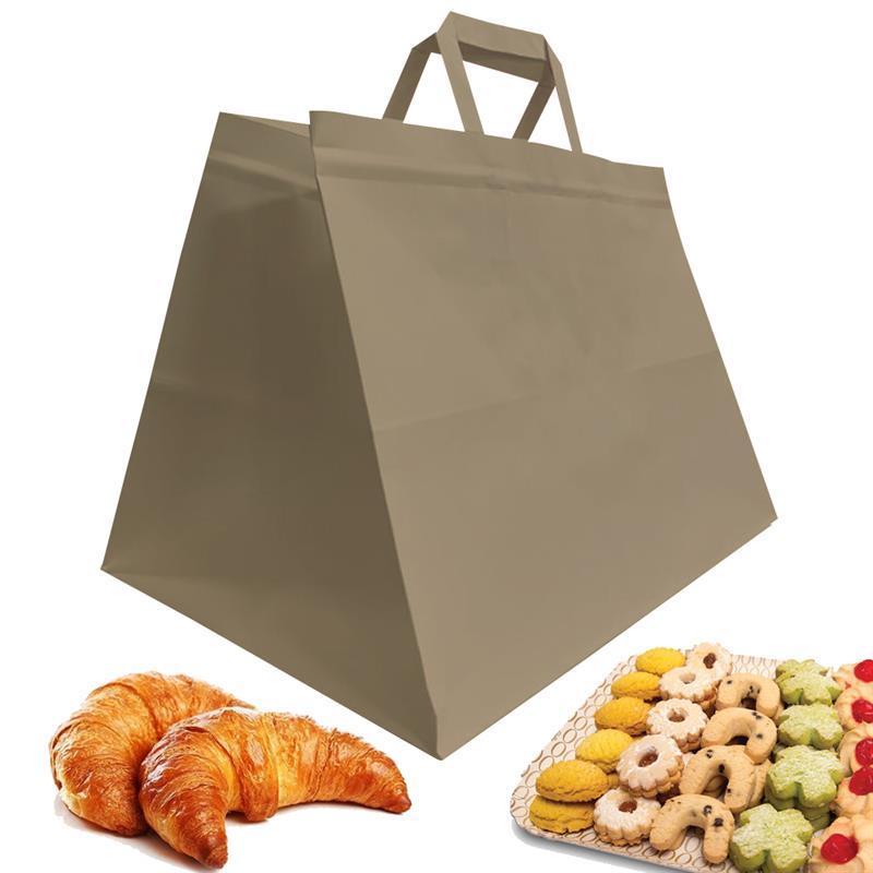 shopper in carta riciclata avana  manico piattina