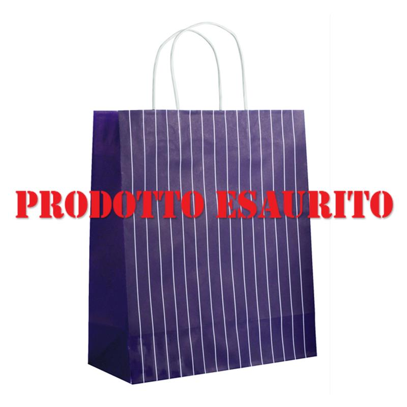 shopper in carta riciclata prugna con righe manico cordino