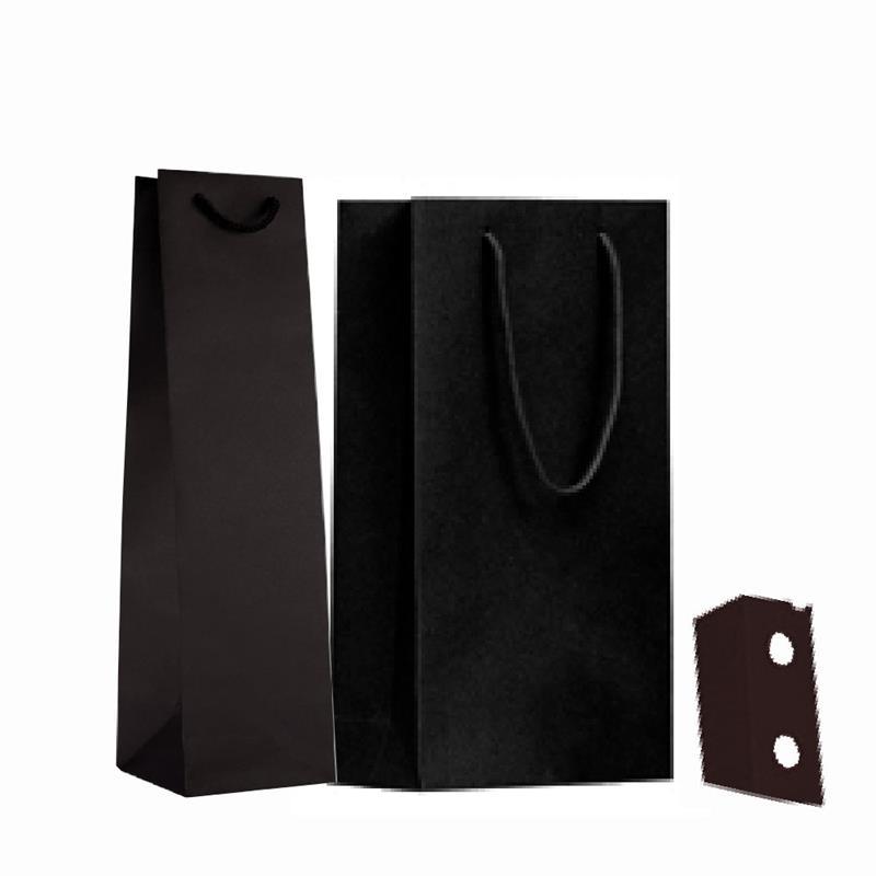 shopper in carta riciclata nero manico cotone passante per i soffietti