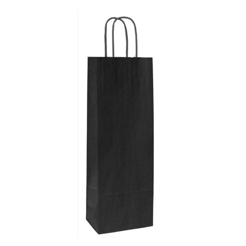 shopper in carta sealing avana nero lato ruvido manico cordino