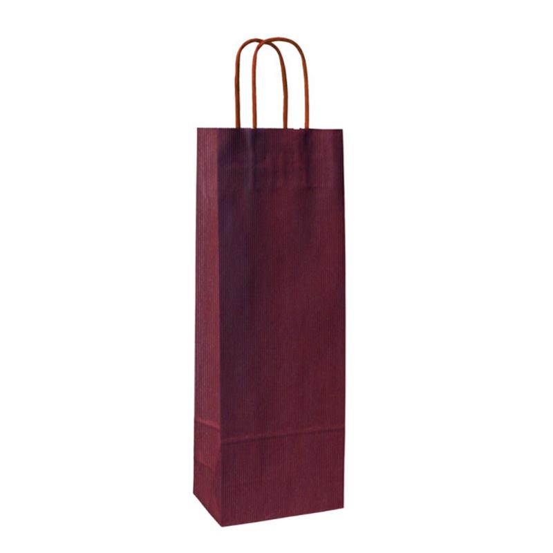shopper in carta sealing avana bordeaux lato ruvido manico cordino